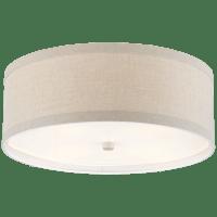 Walker Medium Flush Mount in Light Cream with Natural Linen Shade