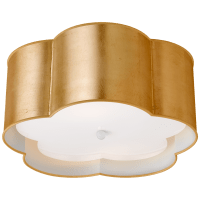 Bryce Medium Flush Mount in Gild and White with Frosted Acrylic Diffuser