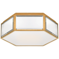 Bradford Small Hexagonal Flush Mount in Mirror and Soft Brass with Frosted Glass