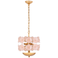 Leighton Small Chandelier in Soft Brass with Blush Tinted Glass