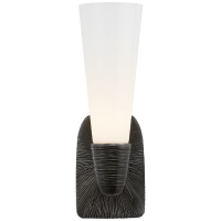 Utopia Small Single Bath Sconce in Aged Iron with White Glass