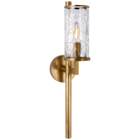 Liaison Single Sconce in Antique-Burnished Brass with Crackle Glass