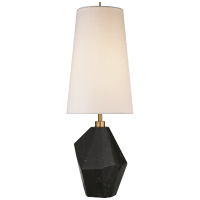 Halcyon Accent Table Lamp in Black Cremo Marble with Linen Shade