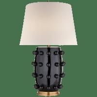 Linden Medium Lamp in Black with Linen Shade