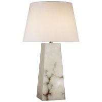 Evoke Large Table Lamp in Alabaster with Linen Shade