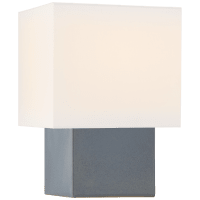 Pari Petite Square Table Lamp in Cloudy Blue with Linen Shade