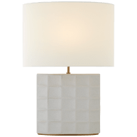 Struttura Medium Table Lamp in Porous White with Linen Shade