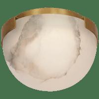 "Melange 5"" Solitaire Flush Mount in Antique-Burnished Brass with Alabaster Shade"