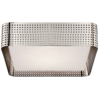 Precision Large Square Flush Mount in Polished Nickel with Clouded Glass