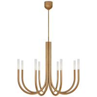 Rousseau Medium Chandelier in Antique-Burnished Brass with Seeded Glass