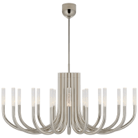 Rousseau Large Oval Chandelier in Polished Nickel with Seeded Glass