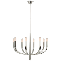 Verso Large Chandelier in Polished Nickel with Clear Glass