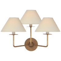 Kelley Medium Triple Sconce in Gilded Iron with Linen Shades