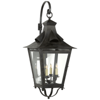 Orleans Large Bracketed Lantern in French Rust with Clear Glass