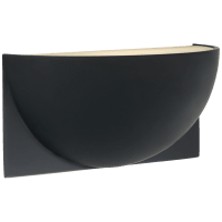 Quarter Sphere Small Up Light in Matte Black with Frosted Glass