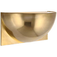 Quarter Sphere Small Up Light in Natural Brass with Frosted Glass