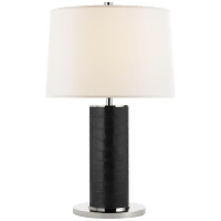 Beckford Table Lamp in Black Faux Croc with Linen Shade
