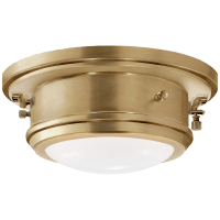 Marine Porthole Small Flush Mount in Natural Brass with White Glass