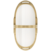 Westbury Double Sconce in Natural Brass with White Glass