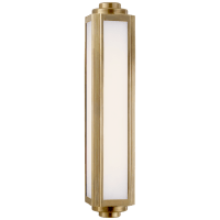 Keating Medium Sconce in Natural Brass with White Glass