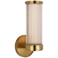 Ranier Single Bath Light in Natural Brass with Clear Glass Rods