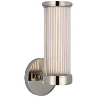 Ranier Single Bath Light in Polished Nickel with Clear Glass Rods