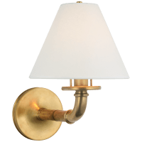 Dalfern Medium Single Sconce in Waxed Bamboo and Natural Brass with White Parchment Shade