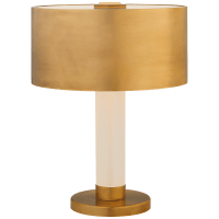 Barton Desk Lamp in Natural Brass and Etched Crystal with Natural Brass Shade