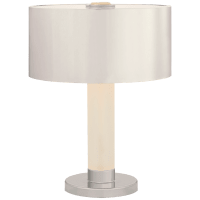 Barton Desk Lamp in Polished Nickel and Etched Crystal with Polished Nickel Shade