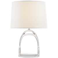 Westbury Table Lamp in Polished Nickel with Linen Shade