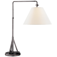 Brompton Swing Arm Table Lamp in Bronze with Linen Shade