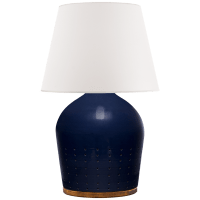 Halifax Small Table Lamp in Blue Ceramic with White Paper Shade