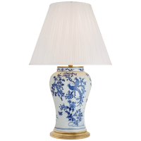 Blythe Medium Table Lamp in Blue and White Porcelain with Silk Pleated Shade