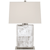 Ellis Bedside Lamp in Polished Nickel and Quartz with Percale Shade