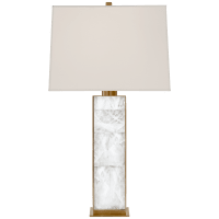 Ellis Table Lamp in Natural Brass and Quartz with Percale Shade