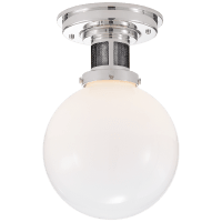 McCarren Small Flush Mount in Polished Nickel with White Glass