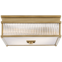 Allen Square Flush Mount in Natural Brass and Glass Rods with White Glass