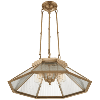 Rivington Medium Eight-Paneled Chandelier in Natural Brass with Clear Glass