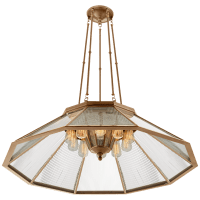 Rivington Large Ten-Paneled Chandelier in Natural Brass with Clear Glass