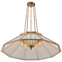 Rivington Large Ten-Paneled Chandelier in Natural Brass with White Glass