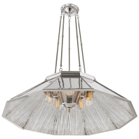 Rivington Large Ten-Paneled Chandelier in Polished Nickel with Ribbed Mirror