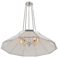 Rivington Large Ten-Paneled Chandelier in Polished Nickel with White Glass
