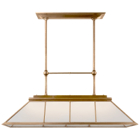 Rivington Large Billiard Chandelier in Natural Brass with White Glass