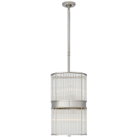 Allen Medium Pendant in Polished Nickel and Glass Rods with White Glass