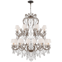 Adrianna Large Chandelier in Antique Gild with Antiqued Crystals and Silk Shades