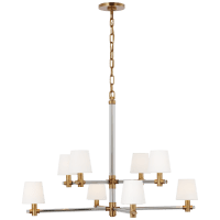 Sable Large Chandelier in Crystal and Natural Brass with Linen Shades