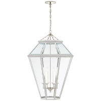 Edmund Large Lantern in Polished Nickel with Clear Beveled Glass