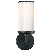 Cylinder Sconce in Bronze with White Glass