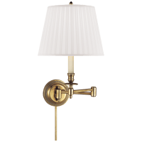 Candlestick Swing Arm in Hand-Rubbed Antique Brass with Silk Shade