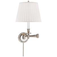 Candlestick Swing Arm in Polished Nickel with Silk Shade